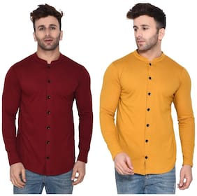 Geum Cotton Blend Solid Maroon & MustardColor Casual Shirt For Men (Pack Of 2)