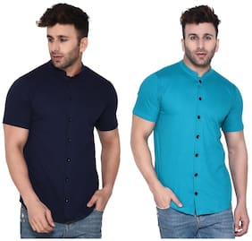 Geum Cotton Blend Solid Blue & Turquoise Color Casual Shirt For Men (Pack Of 2)