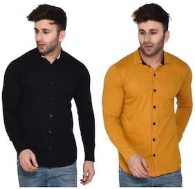 Geum Cotton Blend Solid Black & MustardColor Casual Shirt For Men (Pack Of 2)