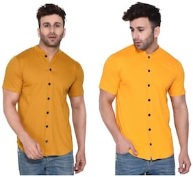 Geum Cotton Blend Solid Mustard& Yellow Color Casual Shirt For Men (Pack Of 2)