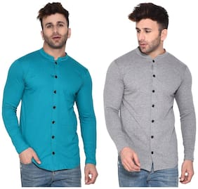 Geum Cotton Blend Solid Turquoise & Grey Color Casual Shirt For Men (Pack Of 2)