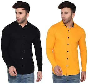 Geum Men Black & Yellow Solid Regular Fit Casual Shirt