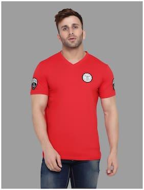 Geum Men Red Slim fit Cotton Blend V neck T-Shirt - Pack Of 1