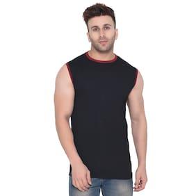 Geum Men Slim fit Round neck Solid T-Shirt - Black