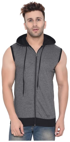 Geum Men Slim fit Hood Solid T-Shirt - Grey