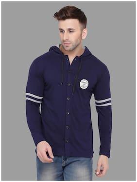 Geum Men Navy blue Slim fit Cotton Blend Hood T-Shirt - Pack Of 1