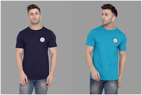 Geum Men Navy blue & Turquoise Slim fit Cotton Blend Round neck T-Shirt - Pack Of 2
