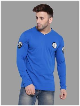 Geum Men Blue Slim fit Cotton Blend V neck T-Shirt - Pack Of 1