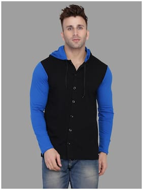 Geum Men Blue & Black Colorblocked Slim Fit Casual Shirt