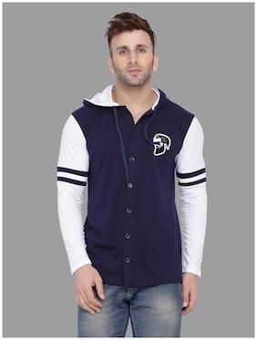 Geum Men Navy blue & White Slim fit Cotton Blend Hood T-Shirt - Pack Of 1
