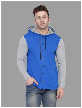 Geum Men Grey & Blue Colorblocked Slim Fit Casual Shirt