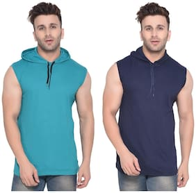 Geum Men Turquoise & Navy blue Slim fit Cotton Blend Hood T-Shirt - Pack Of 2