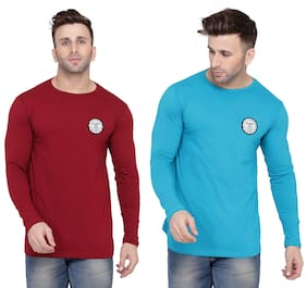 Geum Men Turquoise & Maroon Slim fit Cotton Blend Round neck T-Shirt - Pack Of 2