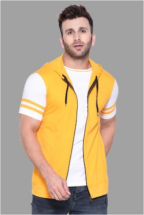 Geum Men Yellow Slim fit Cotton Blend Hood T-Shirt - Pack Of 1