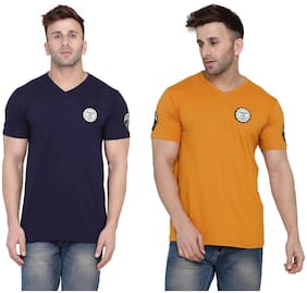 Geum Men Navy blue & Mustard Slim fit Cotton Blend V neck T-Shirt - Pack Of 2