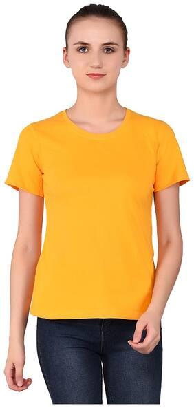 Geum Women Solid Round neck T shirt - Yellow