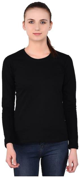 Geum Women Solid Round neck T shirt - Black