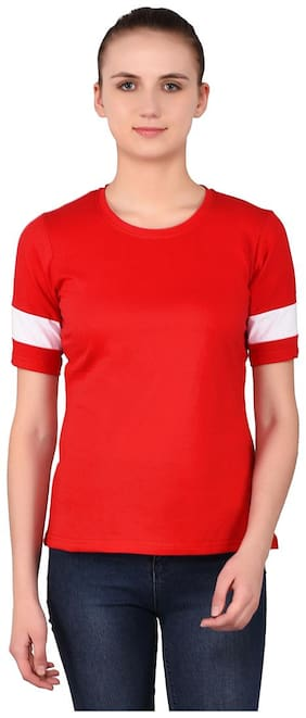 Geum Women Red Regular fit Round neck Cotton T shirt