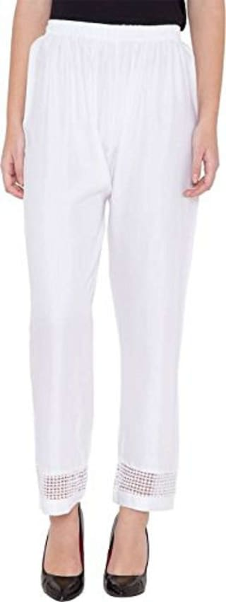 Palazzo Casual Lace White Designer Women Stretchable amp; Wear Leggings for Rayon Free Size Stylish Party Girls Trousers Summer Ghangogi Designer Sfq7Pz