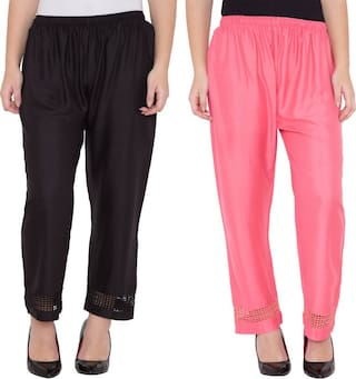 Girls Black Plazzo Large amp; Rayon Casual amp; Trousers Combo Women Stylish Summer 2 Pink Ghangogi Designer Party for Fabric Wear Lace of Palazzo Size 6BRq1