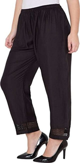 Stretchable Leggings Palazzo Black Lace Rayon Casual Designer Summer Size Girls Women Party Ghangogi amp; Stylish Trousers Free for Designer Wear Rwq7T
