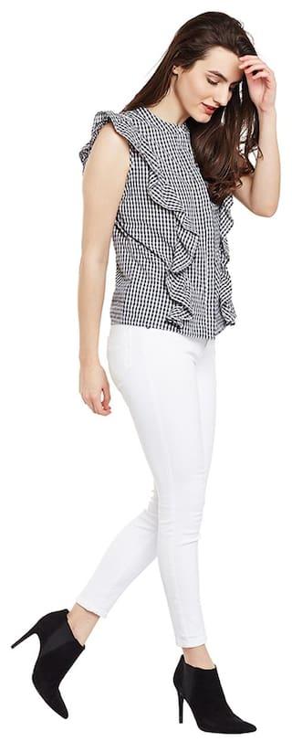 Shirt Frill Gingham Sleevless Printed Gingham Printed nZq08n