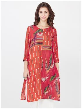 Global Desi Women Red Printed Straight Kurta