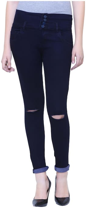 Girlish Women Regular fit Mid rise Solid Jeans - Black