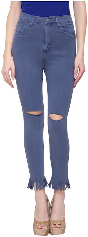 Girlish Women Regular fit Mid rise Solid Jeans - Grey