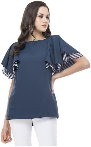 G Fashions Women Solid Regular top - Blue