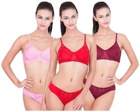 GIRLSZ Embroidered Bikini brief Lingerie Set - Multi