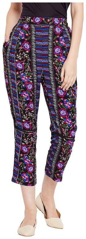 OXOLLOXO Women Regular fit Mid rise Printed Regular trousers - Black