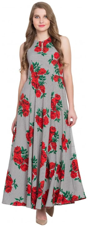 Glampunch Women Multi Floral Fit and Flare Fusion Dresses