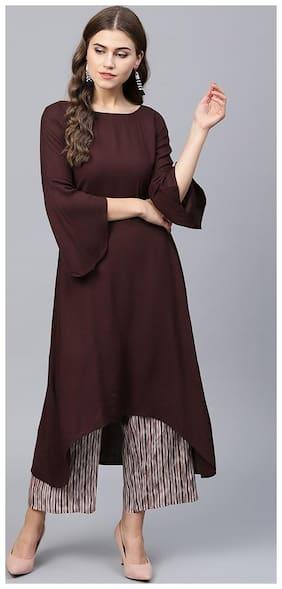 Glampunch Women Brown Solid Straight Kurta