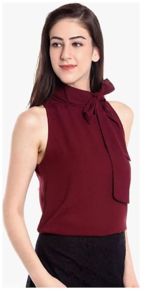 Glampunch Women Solid Regular top - Maroon