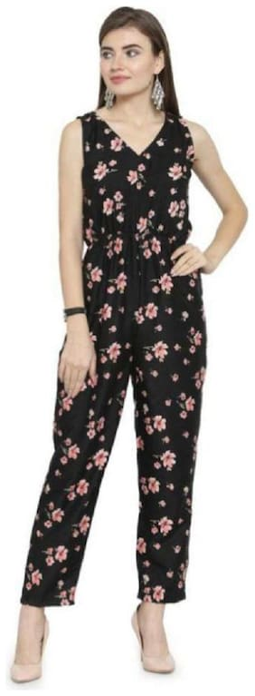 Glampunch Floral Jumpsuit - Black