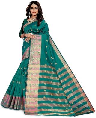 GLAMRACK Silk Festive Regular Saree turquoise