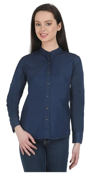Glassiano fullsleeve denim Dark blue shirt