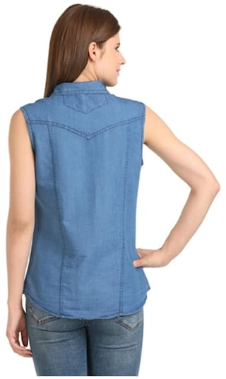 shirt Dark denim Glassiano sleeveless blue wgFOwqA