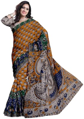Glitters Silk Kalamkari Block print work Saree - Multi , With blouse
