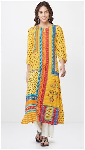 Global Desi Women Yellow Printed Straight Kurta