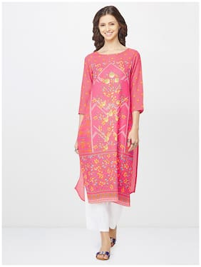 Global Desi Women Pink Printed Straight Kurta