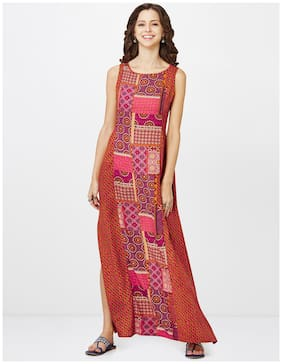 Global Desi Printed Maxi Dress with Patch Print Panel