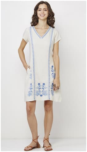 Global Desi White Embroidered A-line dress