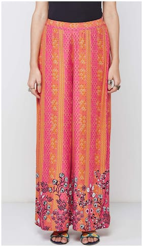 Global Desi Floral Printed Hot Pink Palazzos
