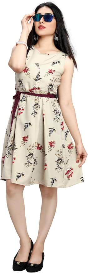 GLOBON IMPEX Cream Floral Fit & flare dress