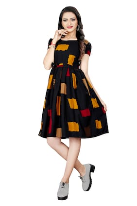 GLOBON IMPEX Women Crepe Geometric Black A Line Dress