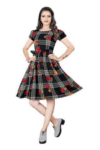 GLOBON IMPEX Women Crepe Floral Black A Line Dress