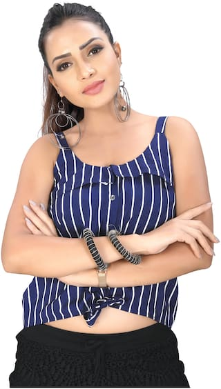 Globon Impex Crepe Striped Navy Blue Crop Top For Women