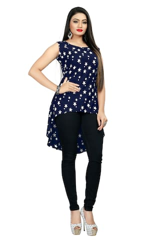 GLOBON IMPEX Crepe Printed Navy Blue Color Top for Women